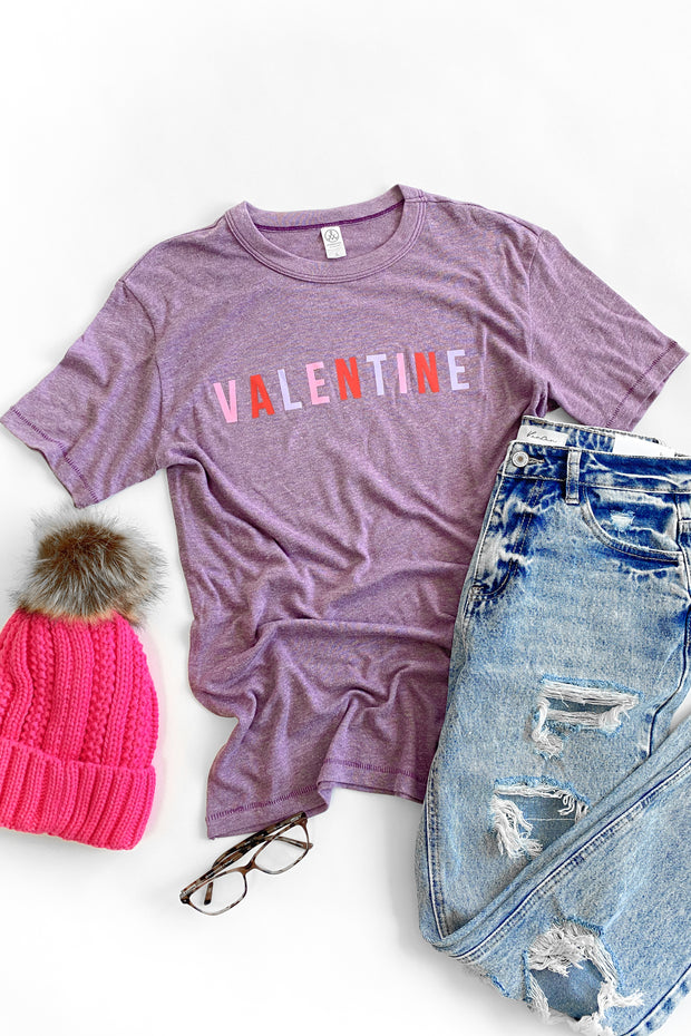 Valentine Colorful Graphic Tee Purple
