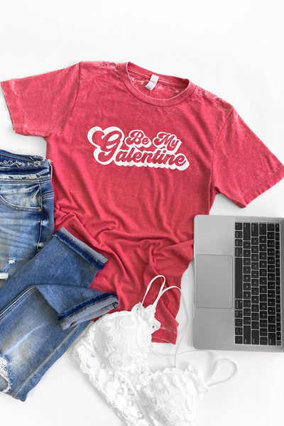 """Galentine"" Graphic Tee Red Distressed Wash"