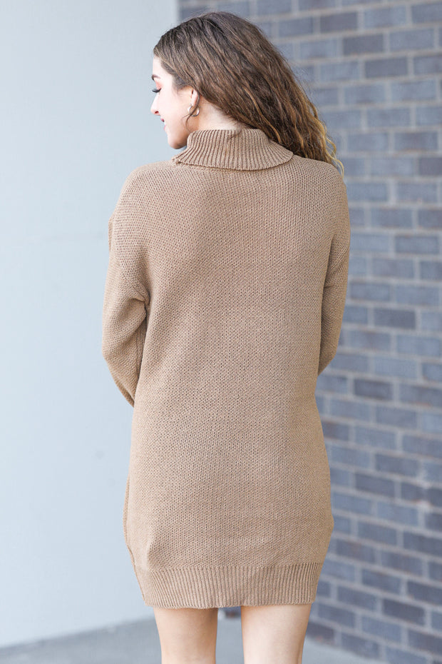 Lacey Mock Neck Sweater Dress Camel