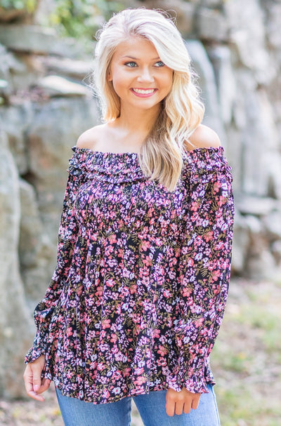 Rosalie Off Shoulder Smocked Floral Top Black