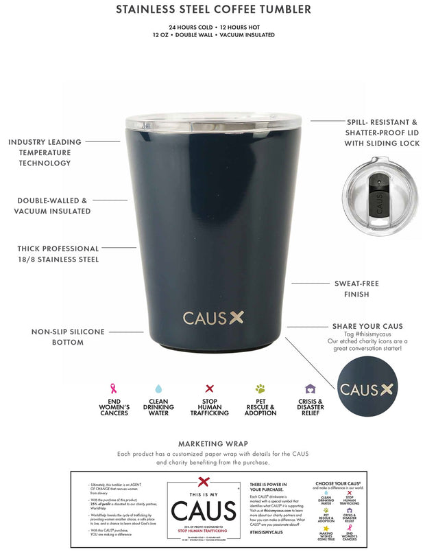 CAUS Drink Tumbler Pretty in Paint - Women's Cancers