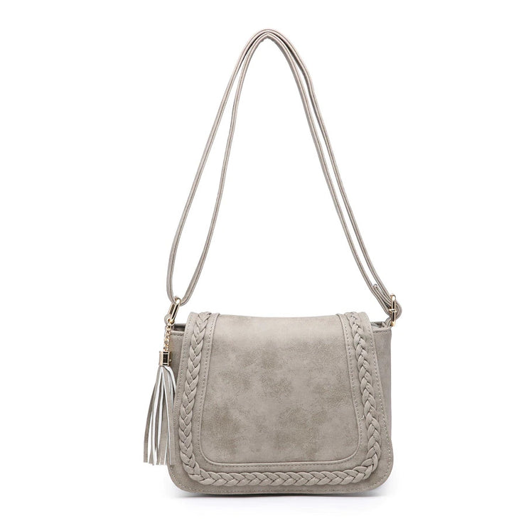 Braided Saddle Bag Crossbody Grey