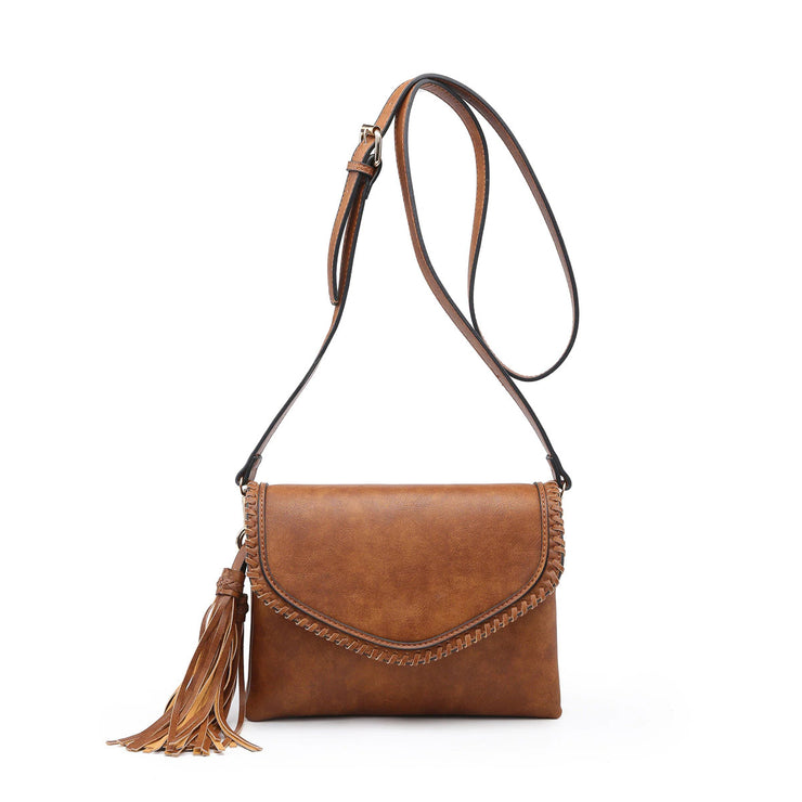 Whipstitch Envelope Crossbody Brown