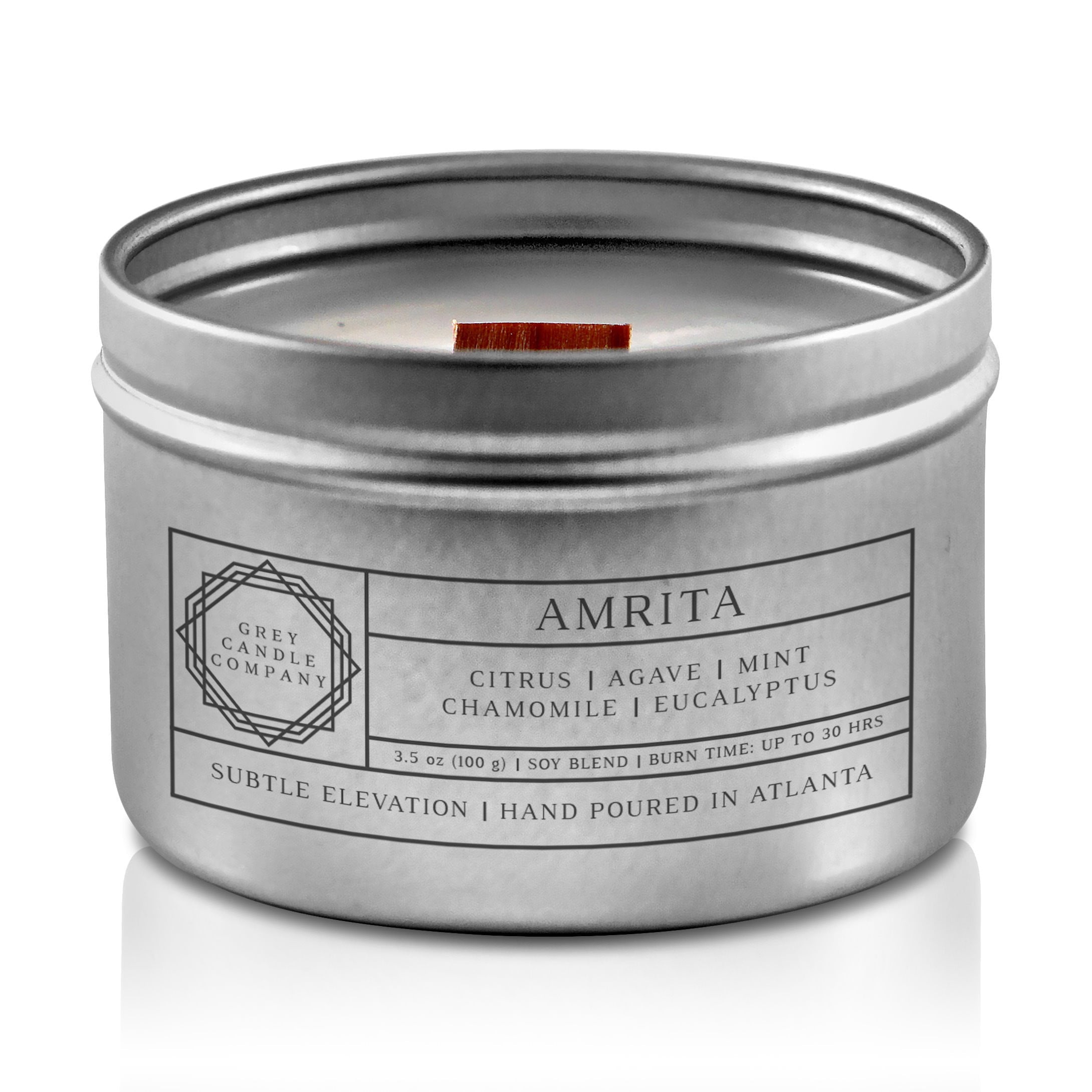 AMRITA CANDLES Grey Candle Company 3.5 oz. TIN