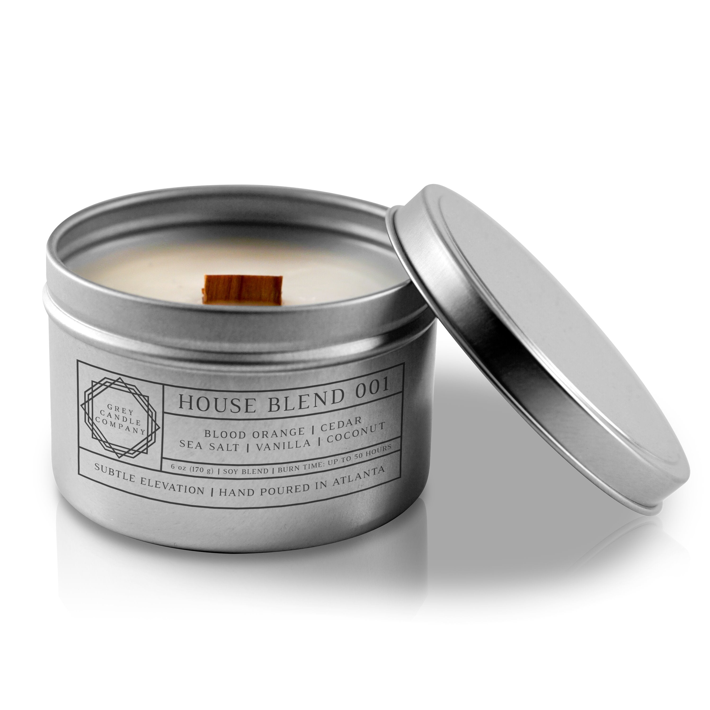 HOUSE BLEND 001 CANDLES Grey Candle Company 6 oz. TIN