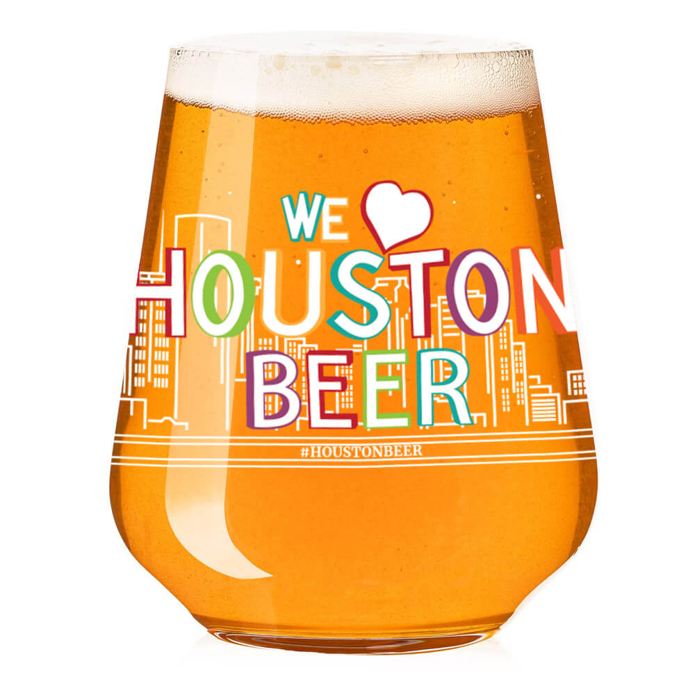 We Love Houston Skyline Blue Tile Stemless Teku