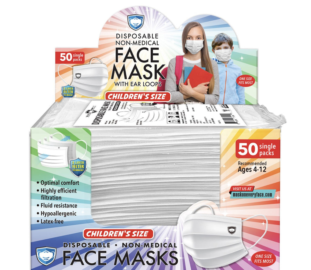 Kid's Individually-Wrapped Face Mask (50 Pack)