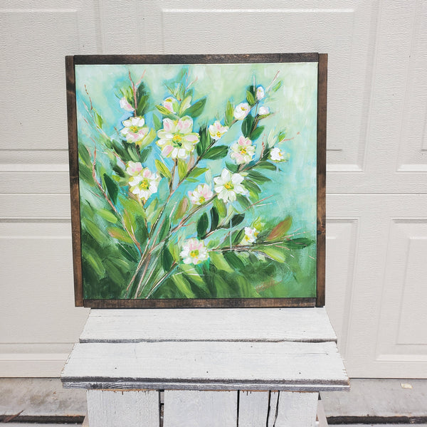 Peach Blossoms 20x20 (framed)