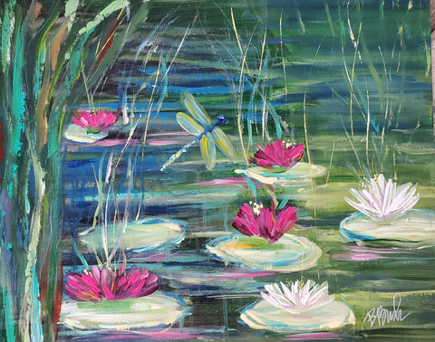 "Lily Pads in Spring 16""x20"""