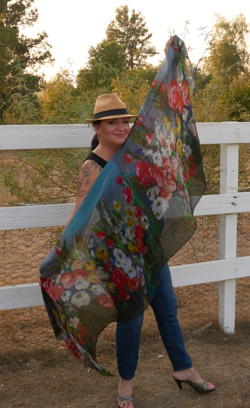Raining in the Garden Art Scarf