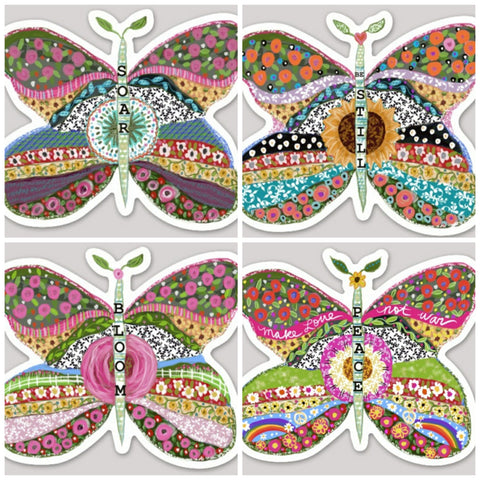 4 Pack Butterfly Stickers