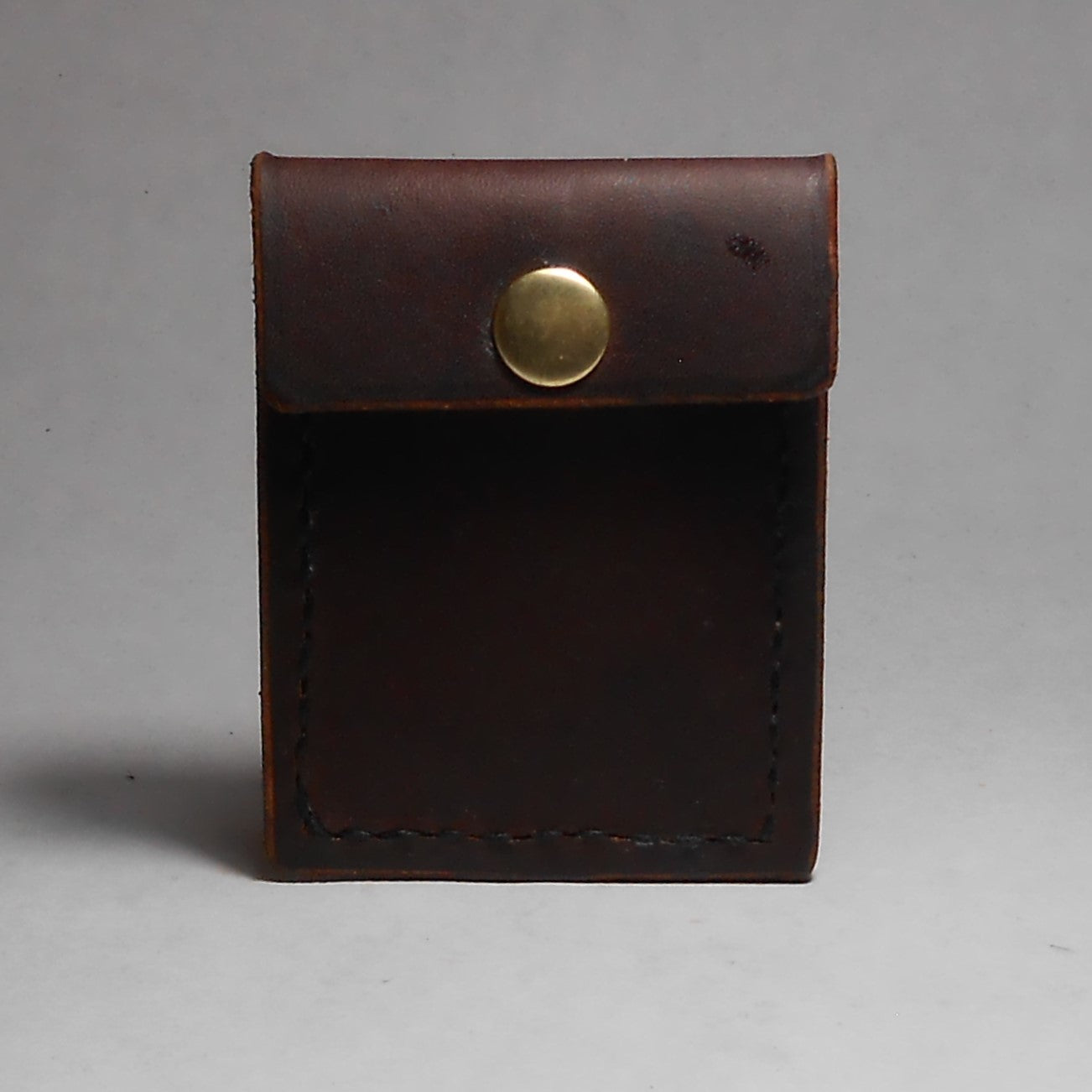 W2M | 1 Card Minimalist Wallet-Brown - Shock and Awl Leatherwork