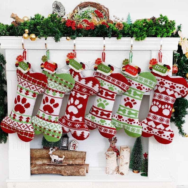 Burlap Christmas Stocking Personalized Pet Stocking PET STOCKING Family Stockings Dog Bone Stocking Stockings for dogs