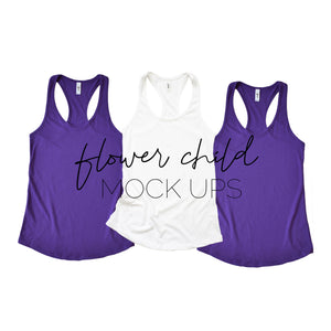 Next Level 1533 Purple Rush White Trio Mock-Up - flowerchildmockups