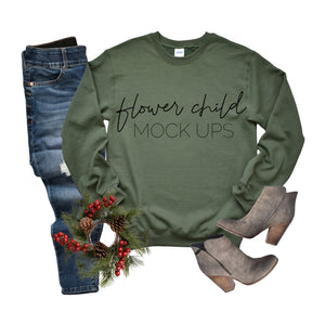 Gildan 180 Military Green Christmas Mockup - flowerchildmockups