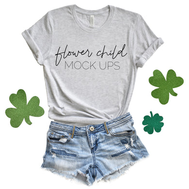 Bella Canvas 3001 Ash St Patrick's Day Mockup - flowerchildmockups
