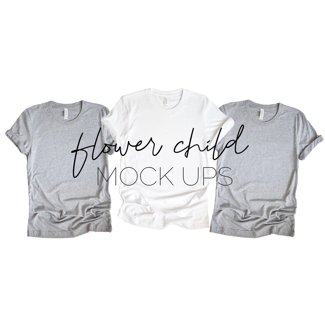 Bella Canvas 3001 Athletic Heather White Trio Mock-up Relaxed - flowerchildmockups