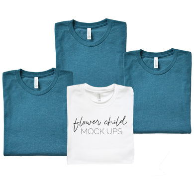 Bella Canvas 3001 Heather Deep Teal Folded Bachelorettte Mockup - flowerchildmockups