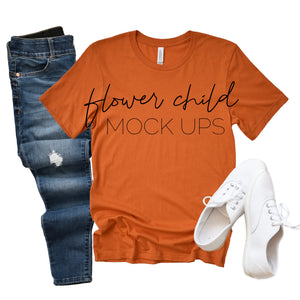 Bella Canvas 3001 Burnt Orange Relaxed - flowerchildmockups