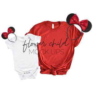 Mommy and Me Bella Canvas 3001 Canvas Red Disney Minnie Ears - flowerchildmockups