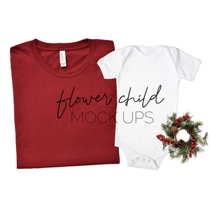 Bella Canvas 3001 Cardinal Mommy and Me Christmas Mockup - flowerchildmockups