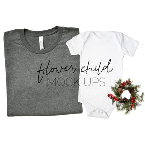 Bella Canvas 3001 Deep Heather Mommy and Me Christmas Mockup - flowerchildmockups