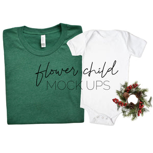 Bella Canvas 3001 Heather Grass Green Mommy and Me Christmas Mockup - flowerchildmockups