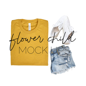 Bella Canvas 3001 Mock-up Mustard Folded Styled - flowerchildmockups