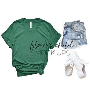 Bella Canvas 3001 Heather Grass Green Flat Lay - flowerchildmockups