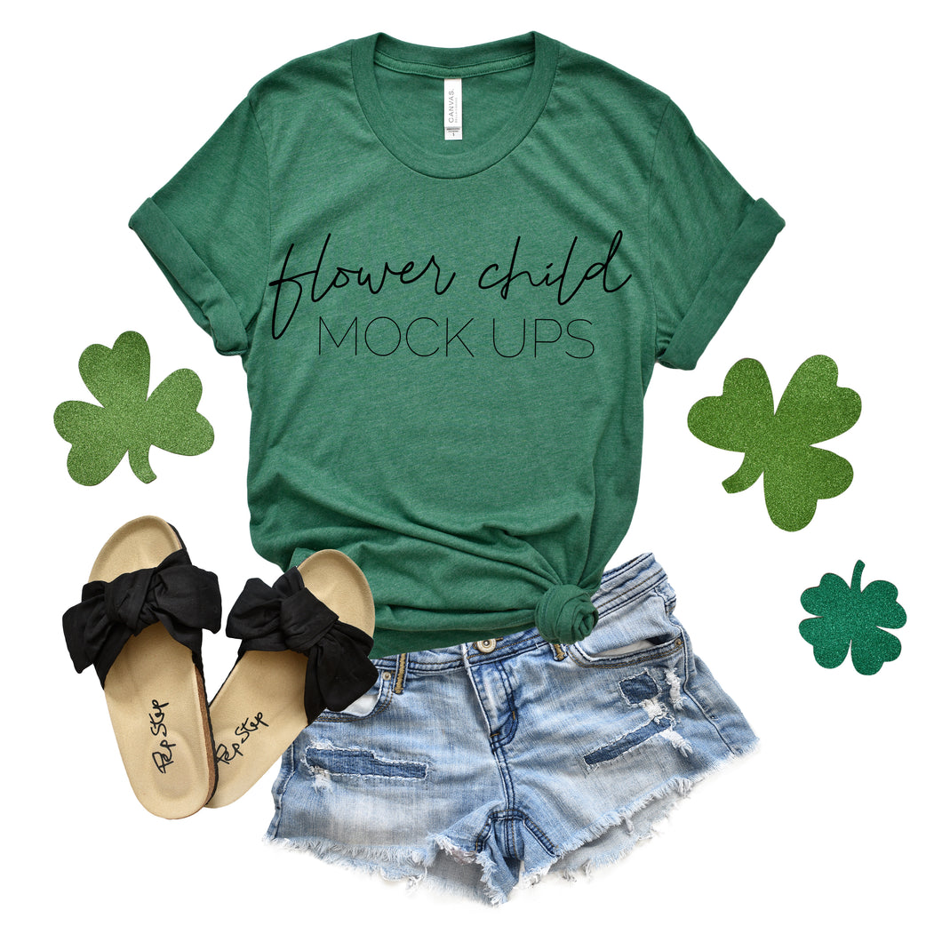 Bella Canvas 3001 Heather Grass Green St Patty's Day Mockup - flowerchildmockups