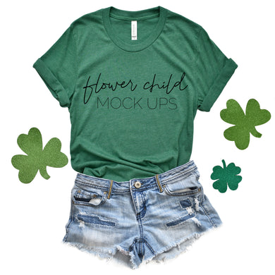 Bella Canvas 3001 Heather Grass Green St. Patrick's Day Mockup - flowerchildmockups