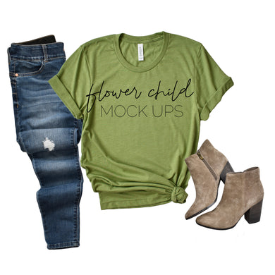 Bella Canvas 3001 Heather Green Jeans Booties - flowerchildmockups