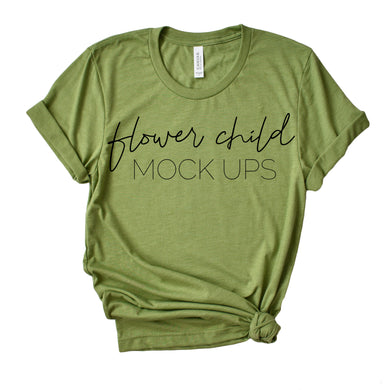 Bella Canvas 3001 Heather Green Mock-up Side Knot - flowerchildmockups