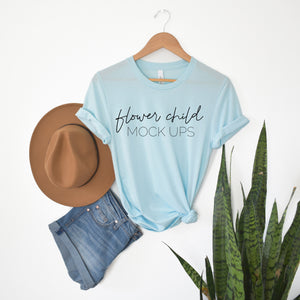 Bella Canvas 3001 Heather Ice Blue Boho Mockup