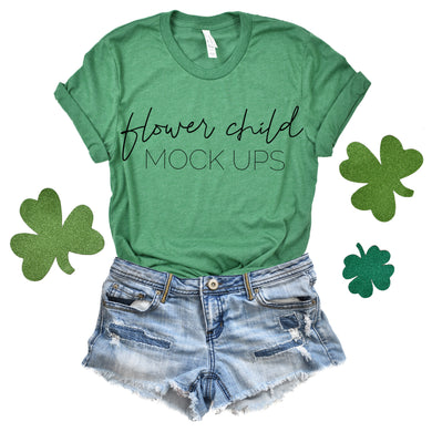 Bella Canvas 3001 Heather Kelly Green St Patty's Day Mockup - flowerchildmockups