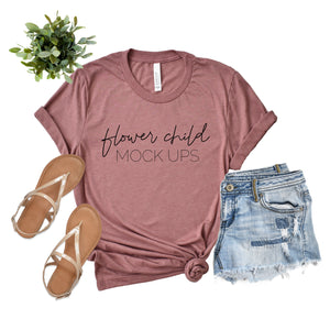 Bella Canvas 3001 Heather Mauve Spring Summer - flowerchildmockups