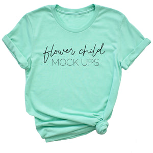 Bella Canvas 3001 Heather Mint Mockup Side Knot TAGLESS - flowerchildmockups