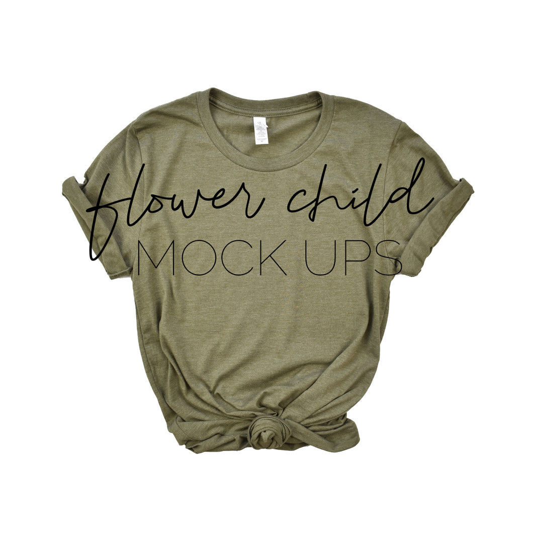 Bella Canvas 3001 Mock-up Heather Olive Center Knot - flowerchildmockups