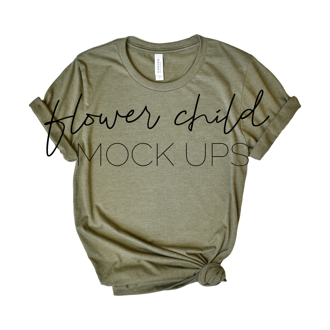 Bella Canvas 3001 Mock-up Heather Olive Side Knot - flowerchildmockups