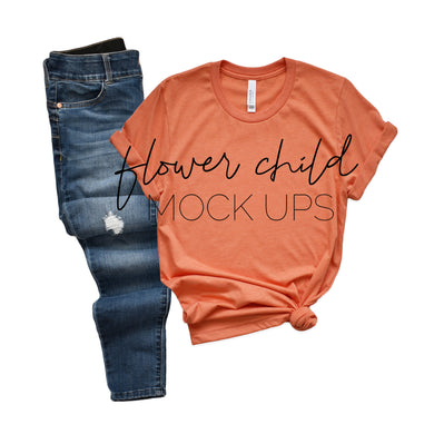 3001 Heather Orange Side Knot Jeans - flowerchildmockups
