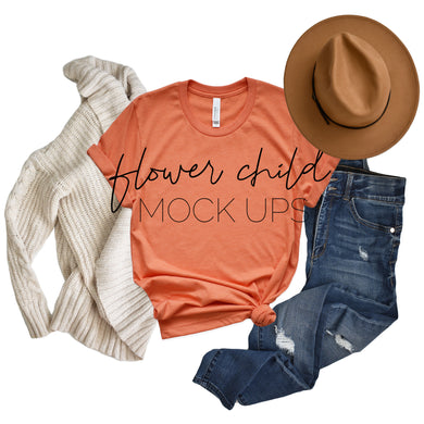 3001 Heather Orange Side Knot Fall Mockup - flowerchildmockups