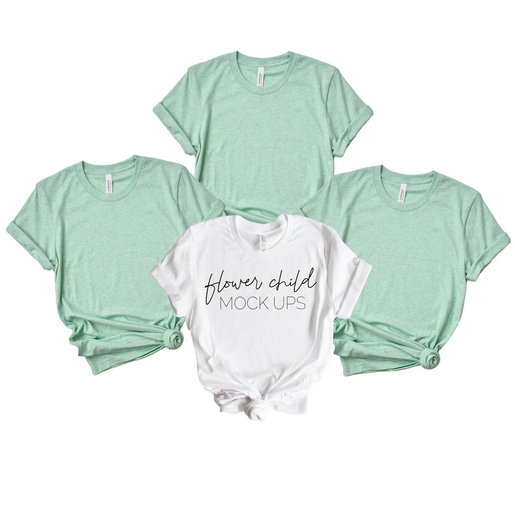 Bella Canvas 3001 Heather Prism Mint Bachelorette Combo Mockup - flowerchildmockups