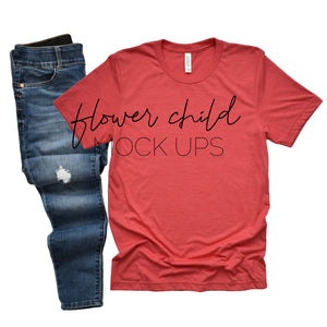 Bella Canvas 3001 Heather Red Mockup Relaxed Jeans - flowerchildmockups
