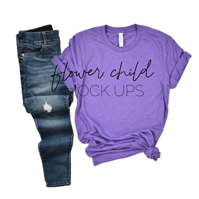 Bella Canvas 3001 Heather Team Purple Side Knot Jeans - flowerchildmockups