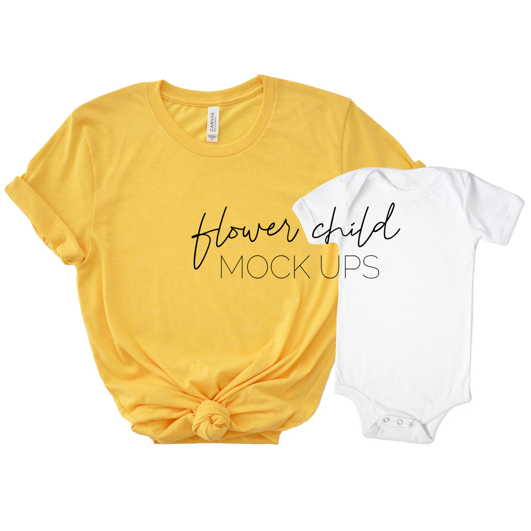 Bella Canvas 3001 Heather Yellow Gold Mommy and Me Mockup - flowerchildmockups
