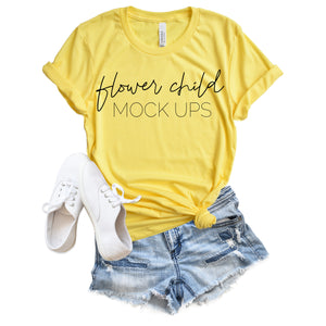 Bella Canvas 3001 Heather Yellow Spring Summer Mockup - flowerchildmockups