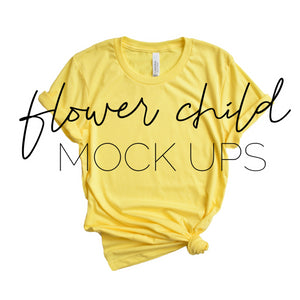 Bella Canvas 3001 Heather Yellow Mock-up Side Knot - flowerchildmockups