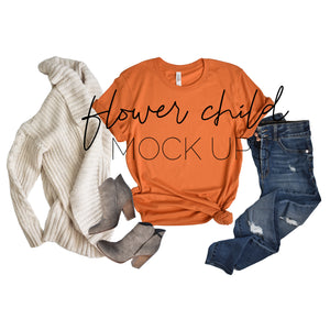Bella Canvas 3001 Burnt Orange Mock-up Fall - flowerchildmockups