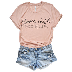 Bella Canvas 3001 Heather Peach Tucked - flowerchildmockups