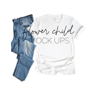 Bella Canvas 3001 White Tshirt Mock-up Jeans - flowerchildmockups